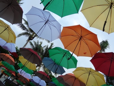 Rows of umbrellas in every colour of the rainbow hanging from invisible threads .