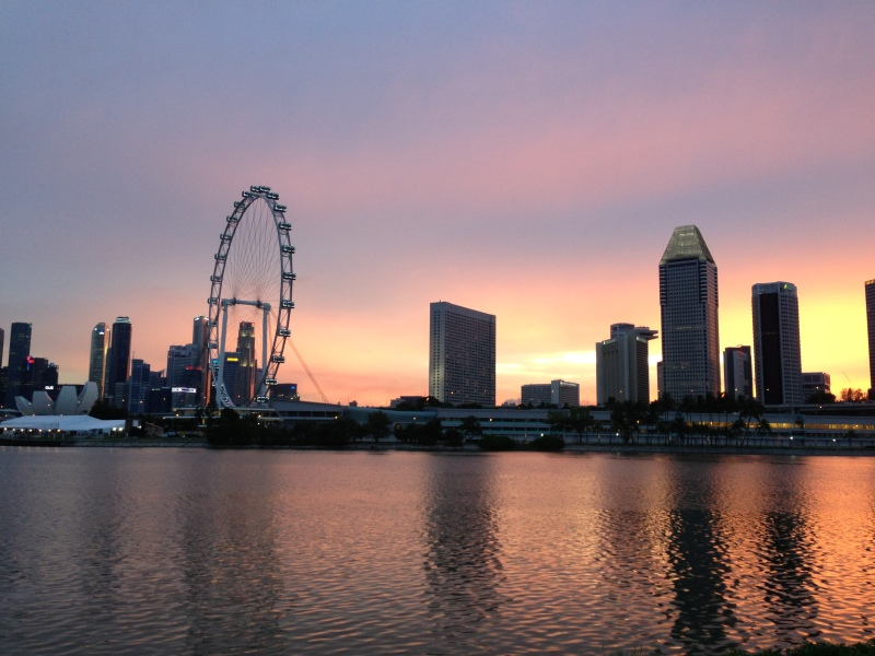 singapore flyer skyline sunset gardens by the bay