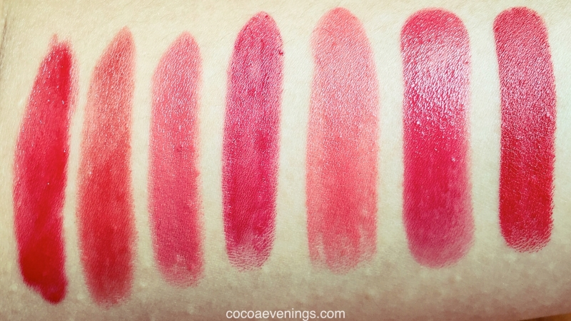 my m.a.c red lipsticks swatched