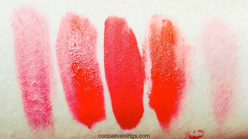 swatches of my miscellaneous red lip products